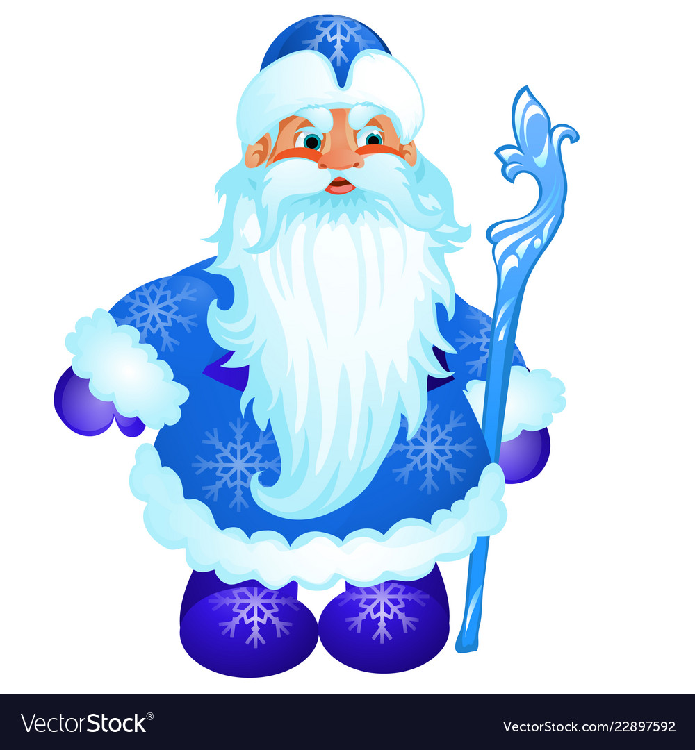 Animated santa claus in blue christmas costume