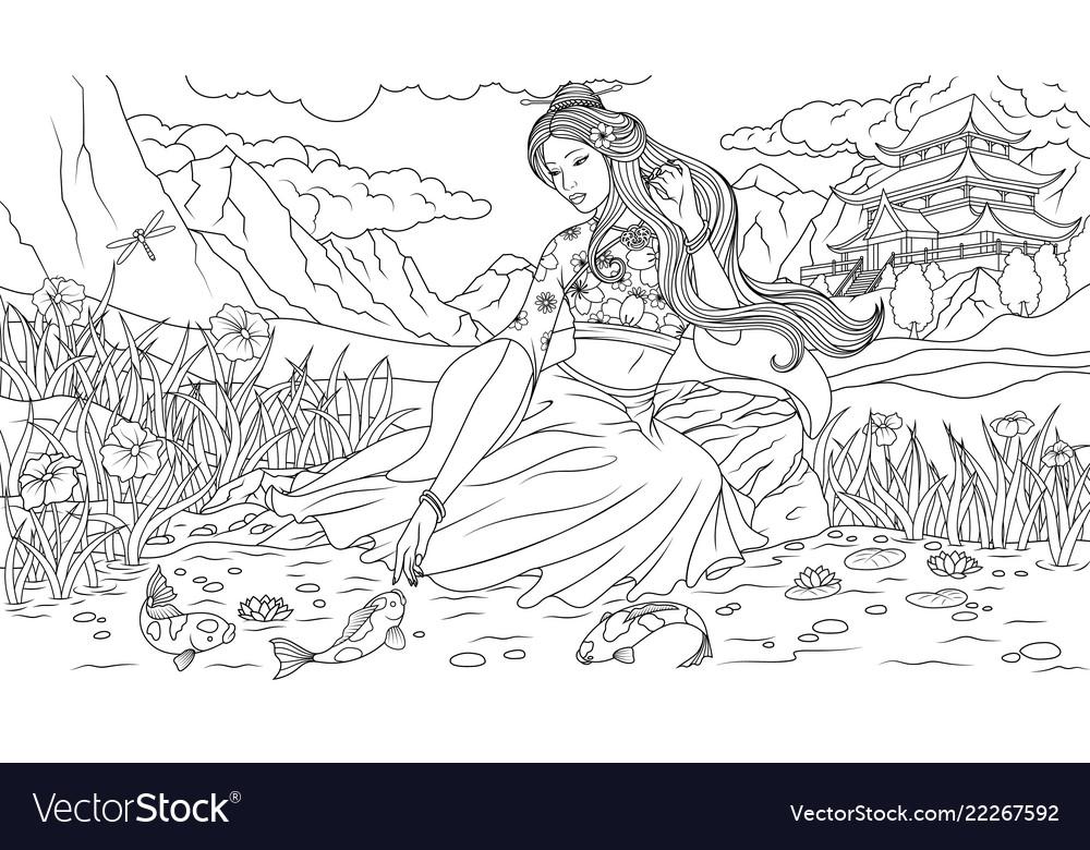 Beautiful geisha by the lake