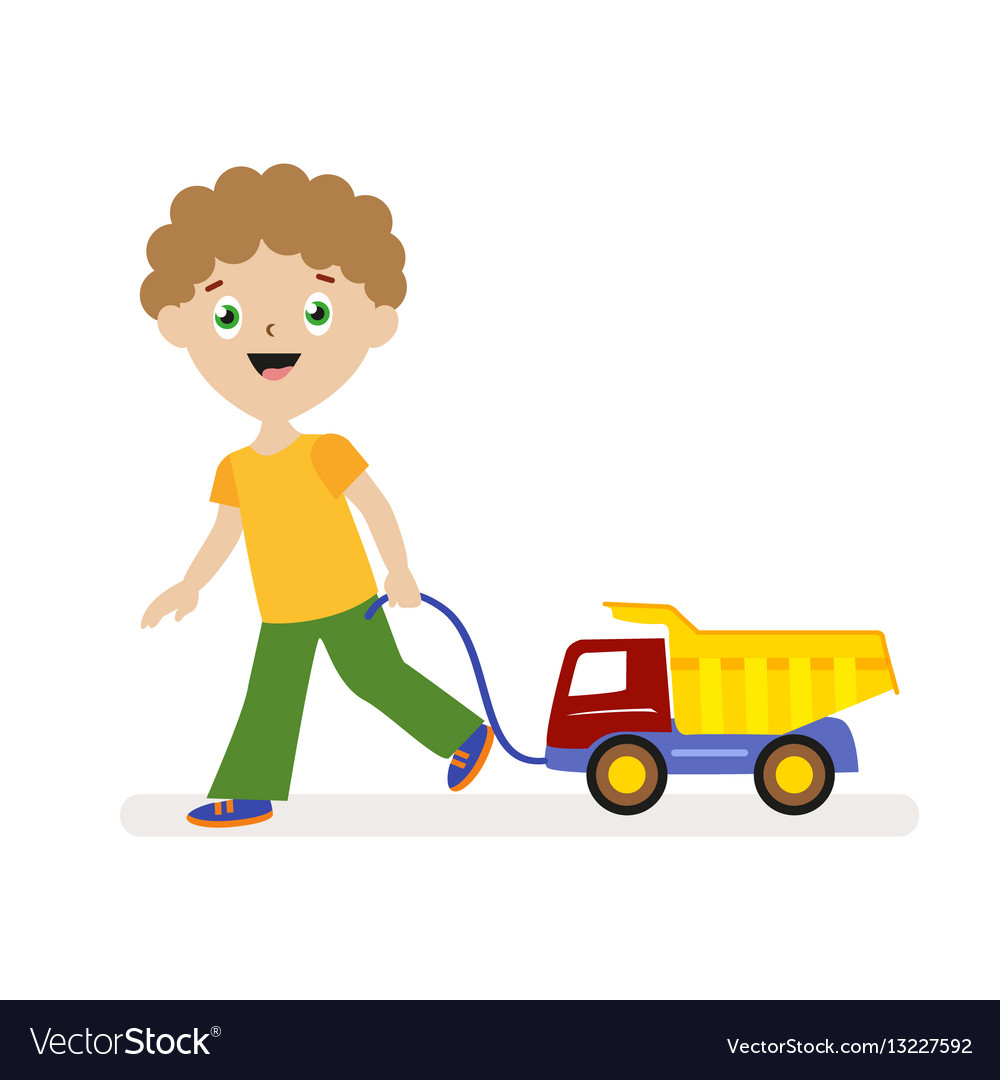 Boy with toy car on a string small child on a vector image