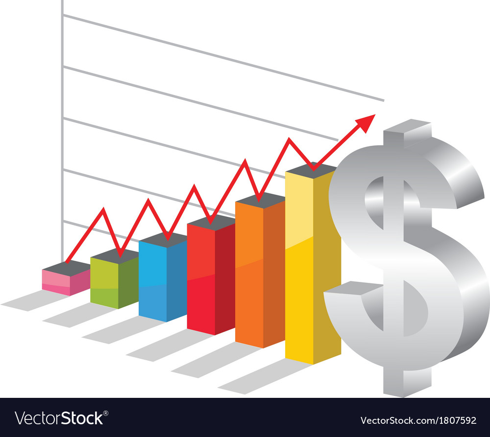 bussiness graph with silver dollar sign royalty free vector