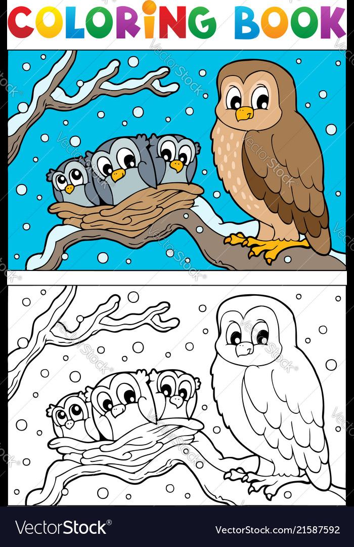 Coloring book owl theme 1