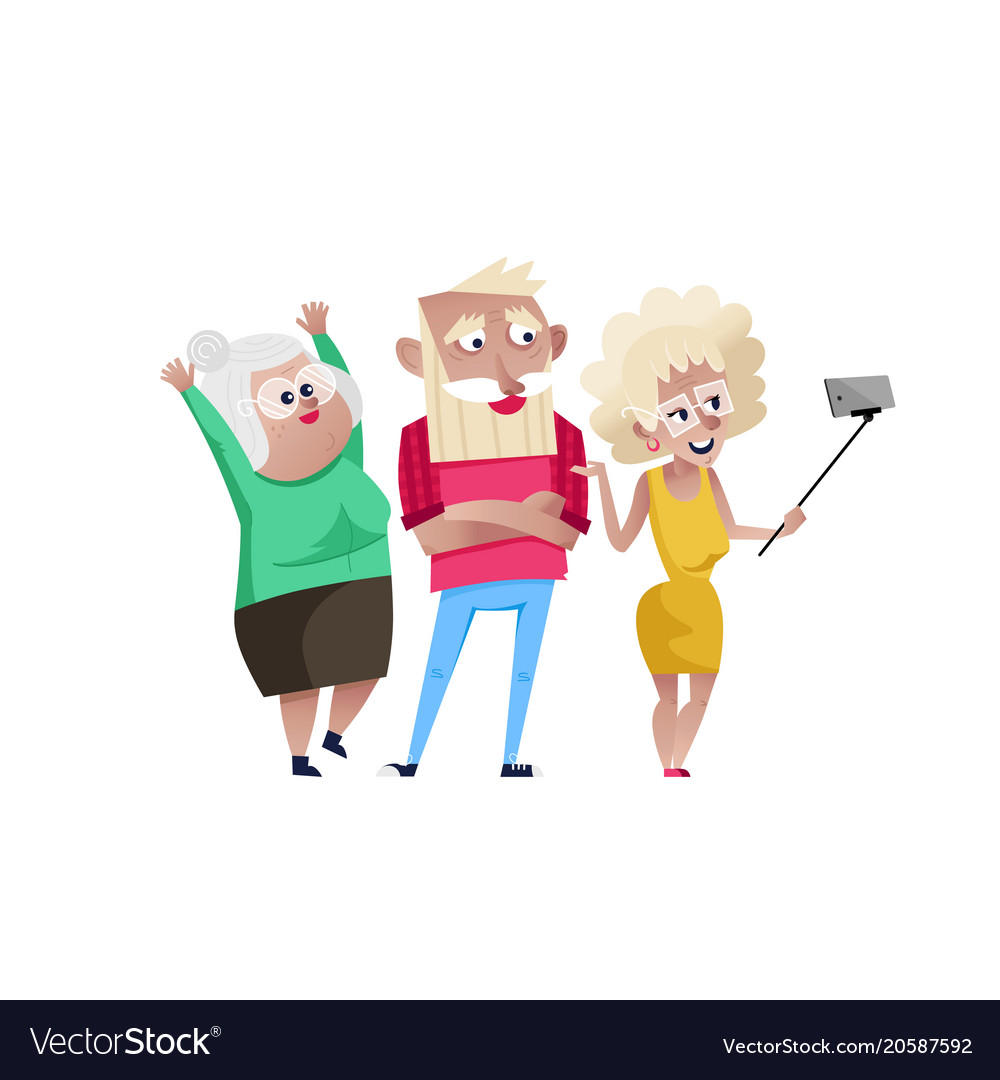 Group of smiling mature people doing selfie vector image