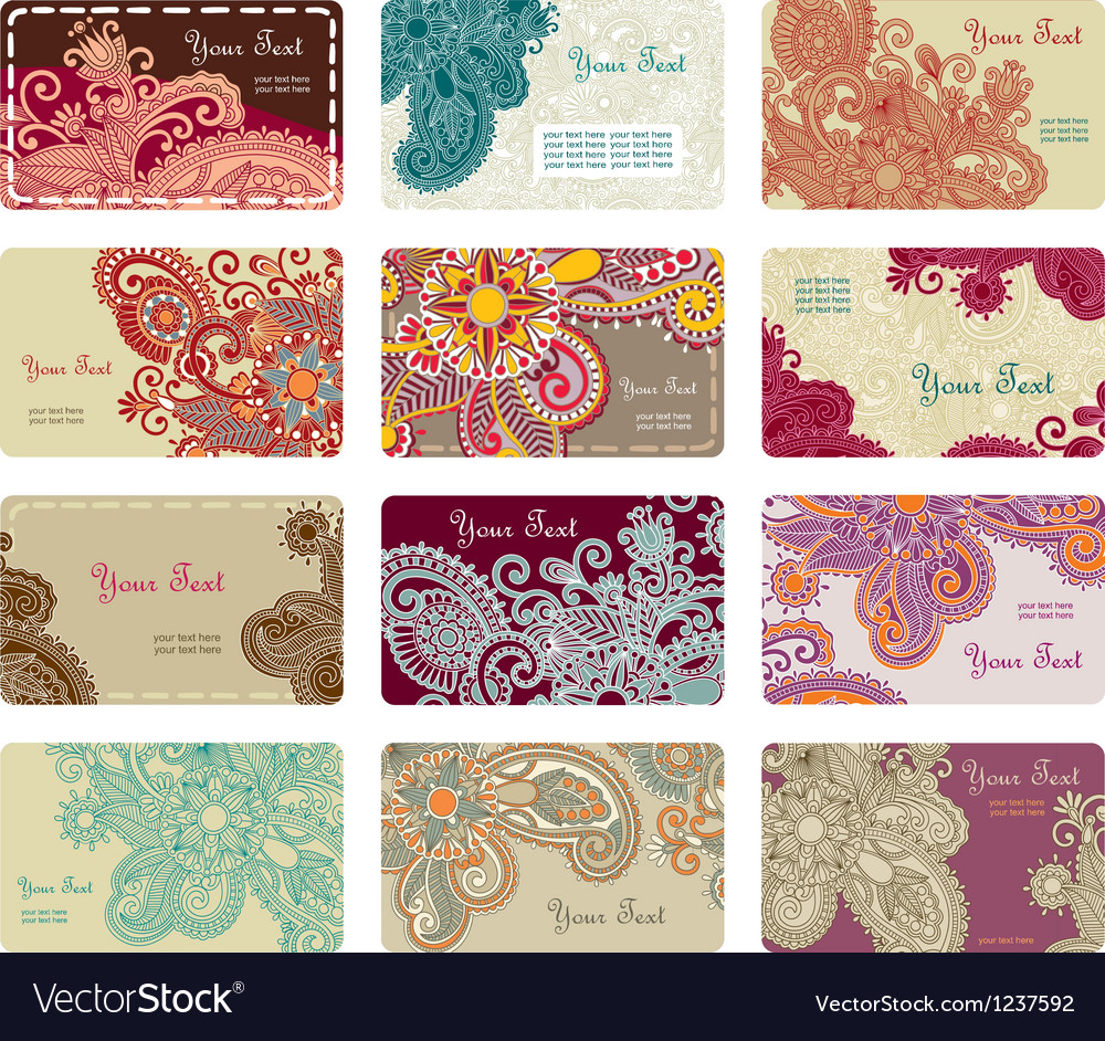 Hand draw ornate floral business card set