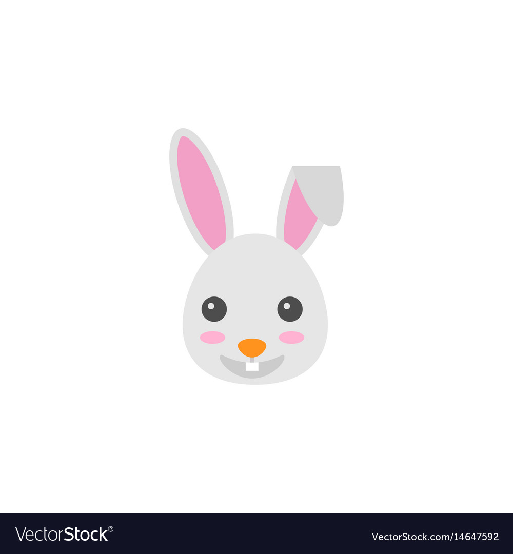 Happy easter bunny flat icon religion holiday vector image