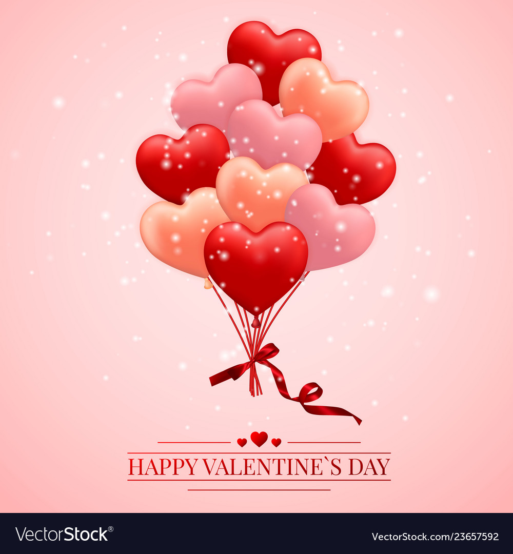 Happy valentines day background red pink and