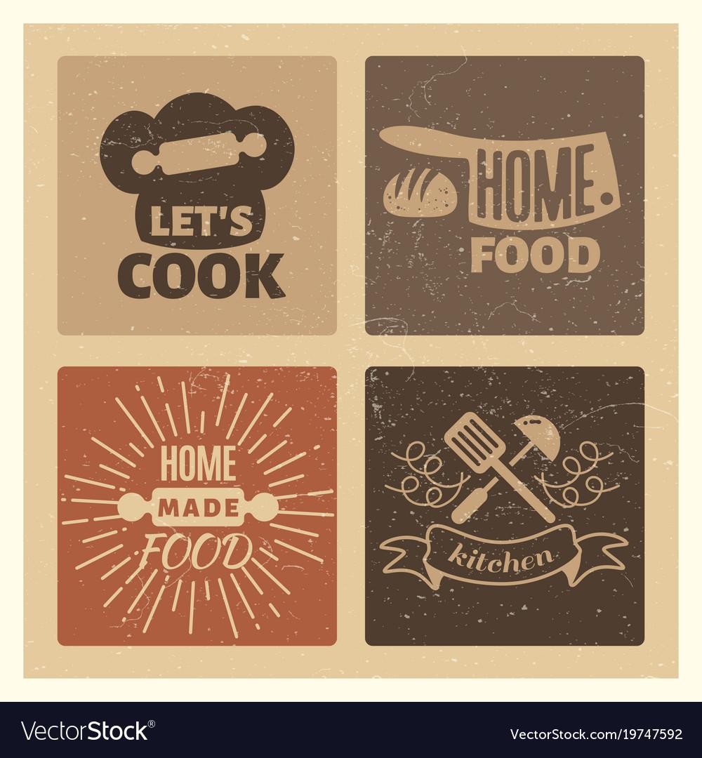 Homemade food and bakery vintage grunge badge set vector image