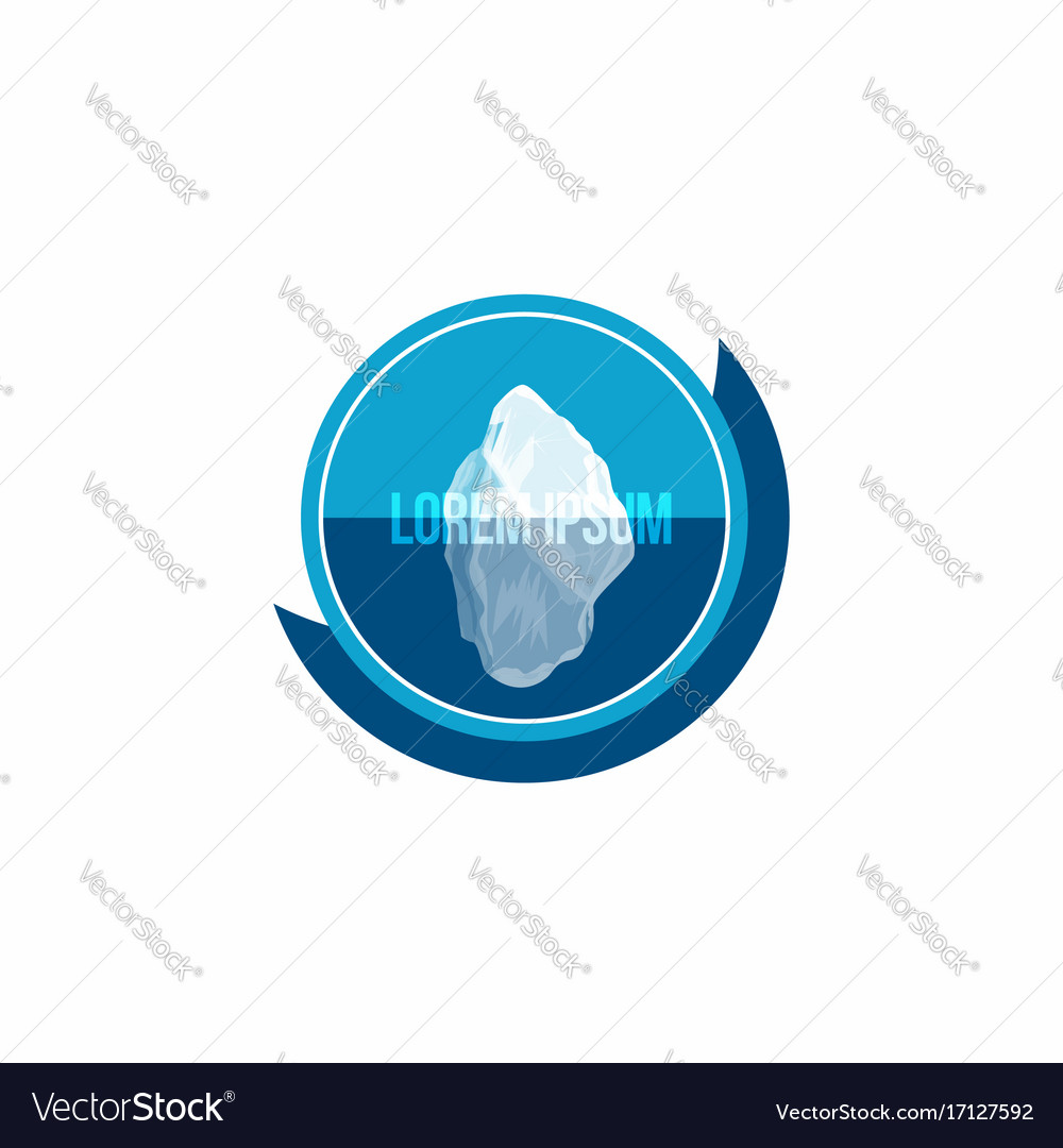 Iceberg above and under water conceptual logo