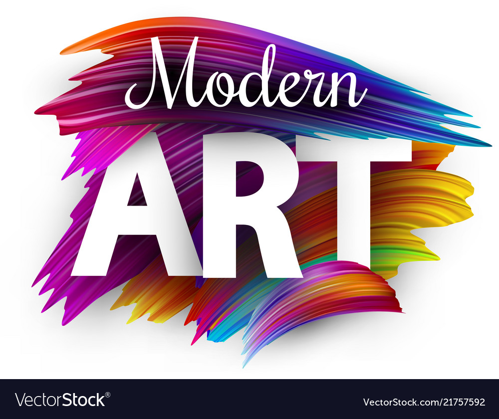 Modern art paper poster with colorful brush