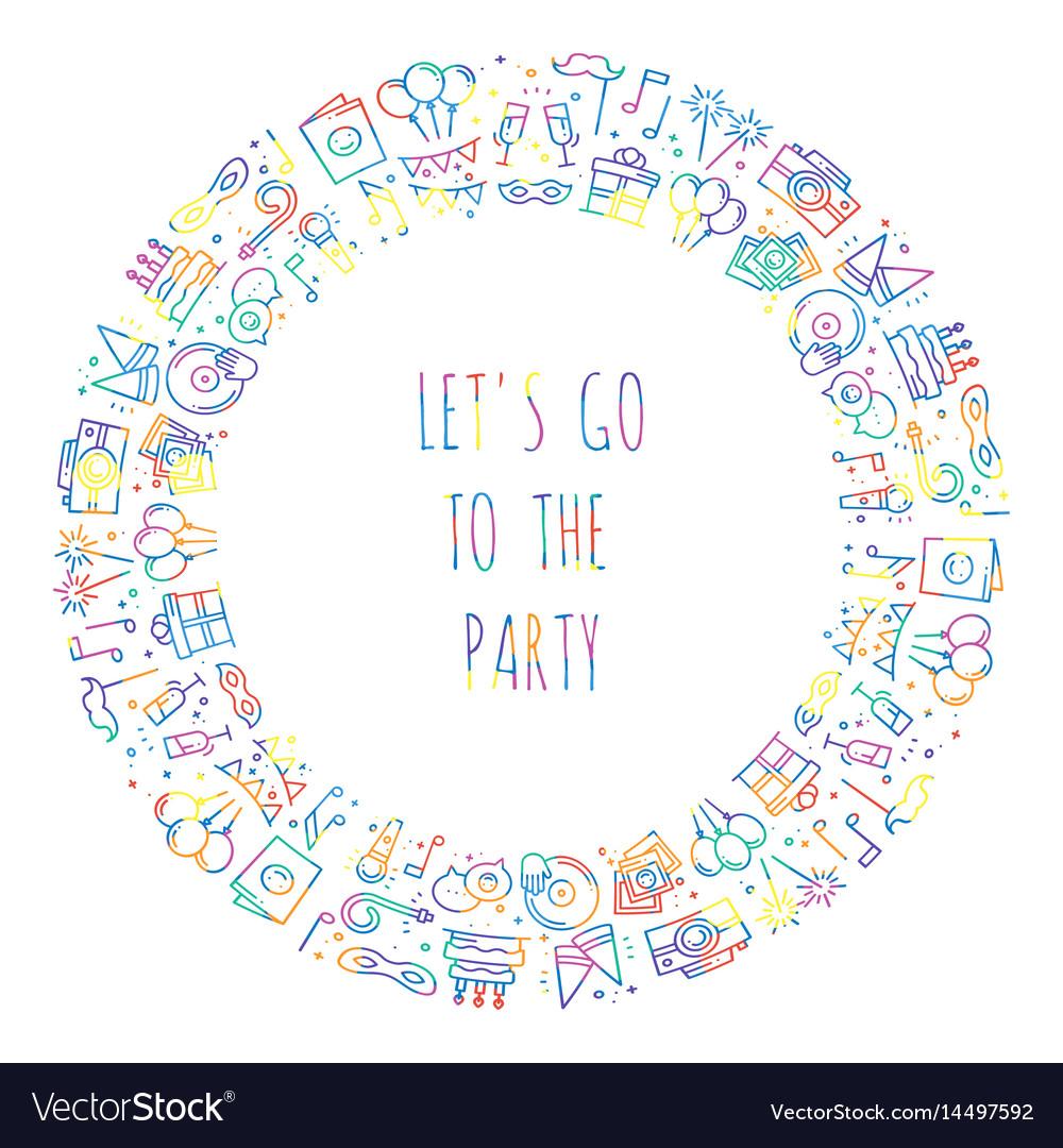 Party round frame celebration pattern birthday