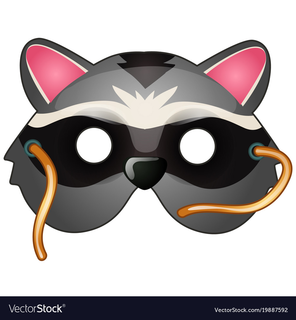 Raccoon mask on face in cartoon style