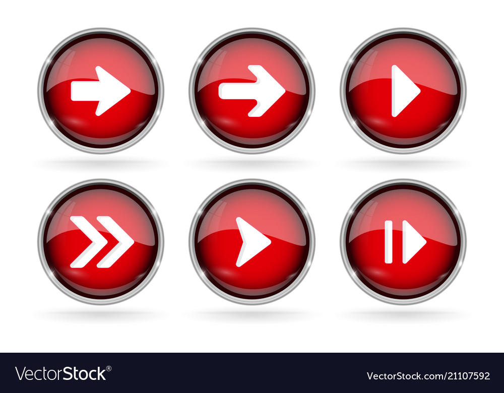 Red next buttons with chrome frame round glass vector image on VectorStock