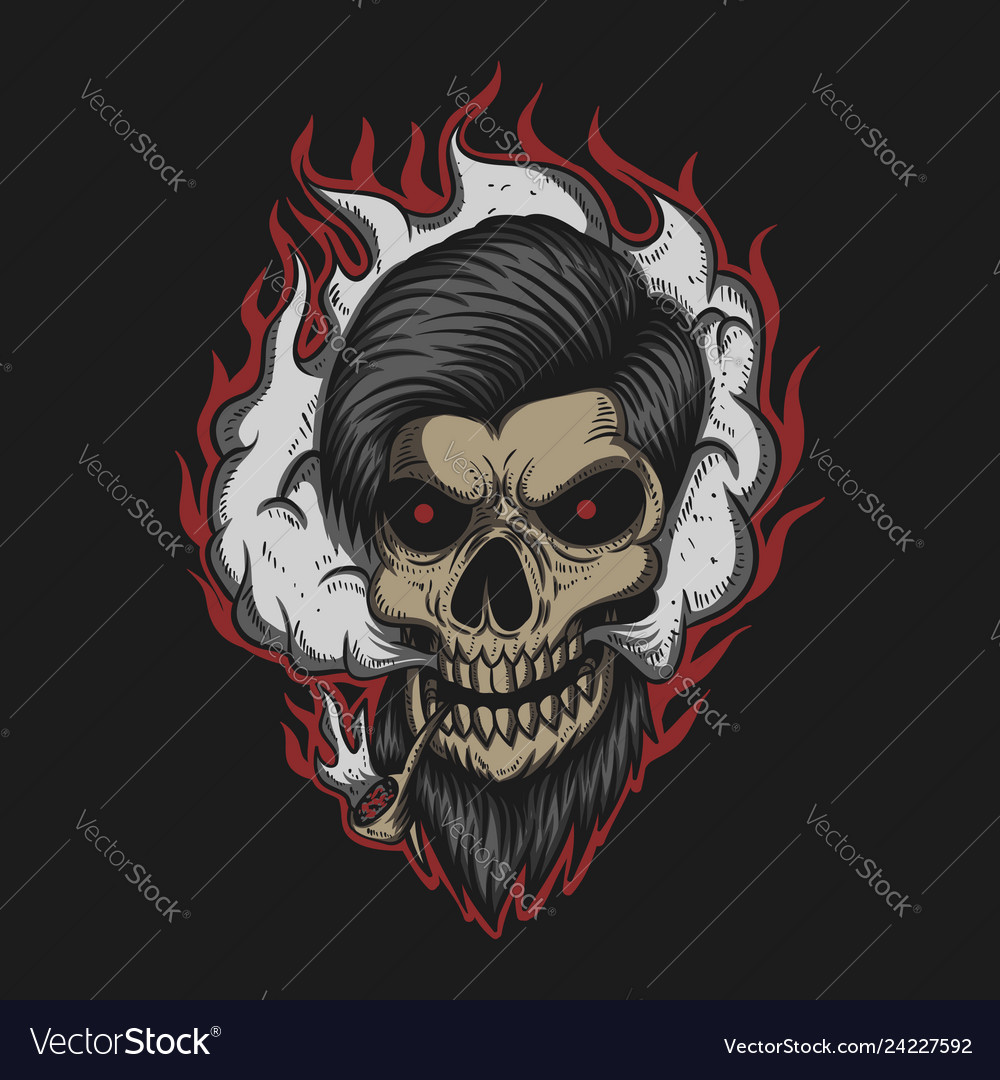 Skull man smoke vector