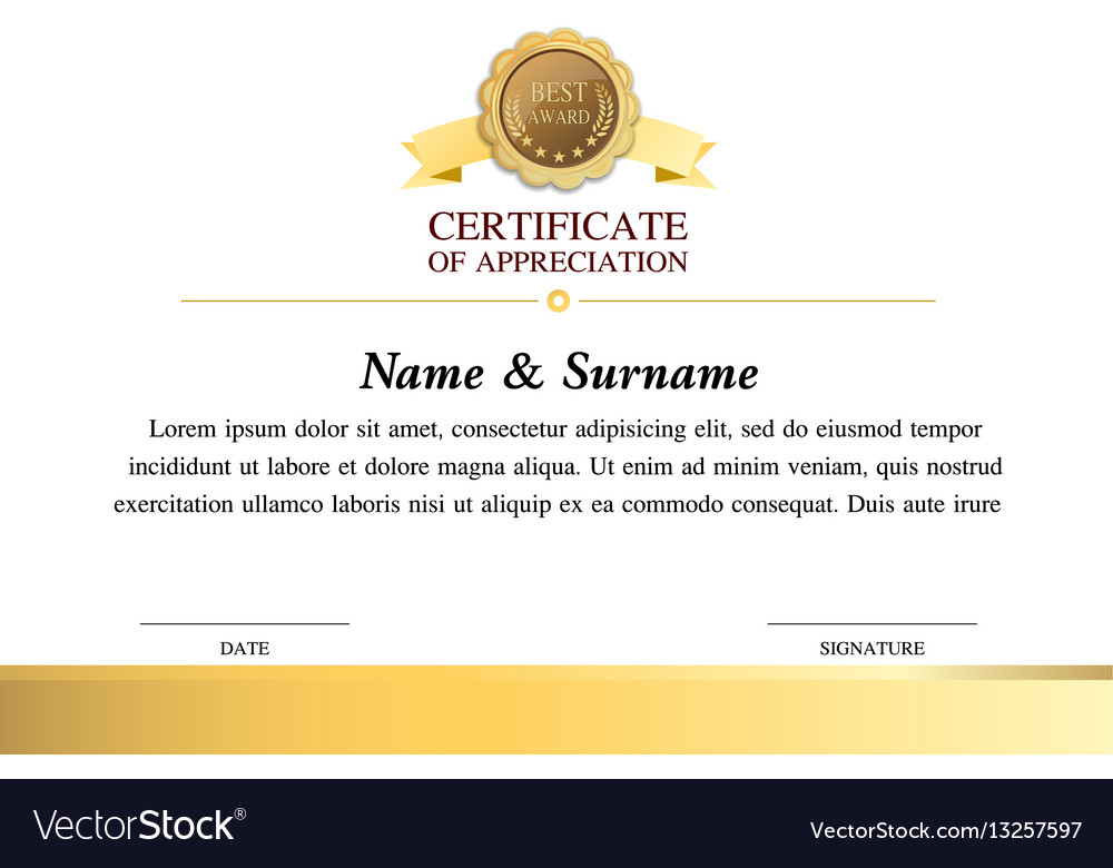 Certificate Template Warranty 7 Royalty Free Vector Image