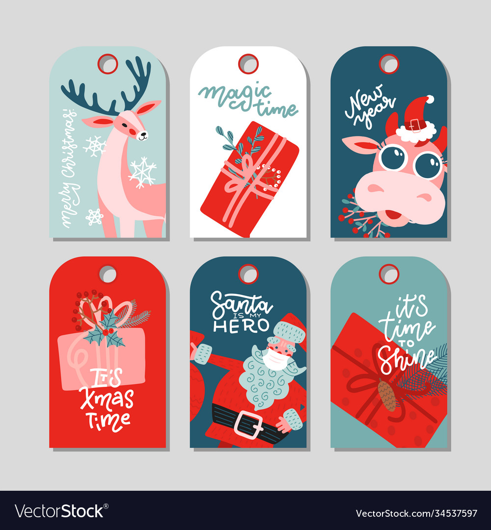 Collection new year and christmas gift tags