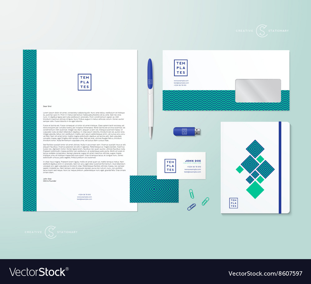 Creative Geometry Green and Blue Realistic vector image