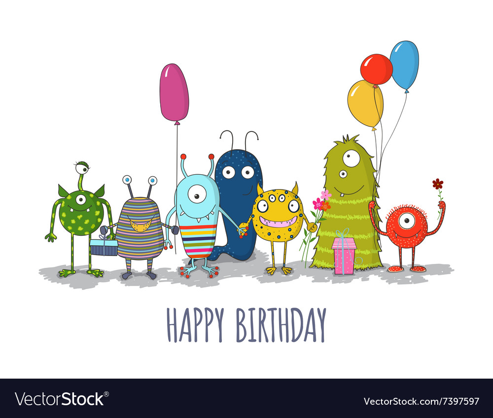 Cute colorful monsters happy birthday card eps10
