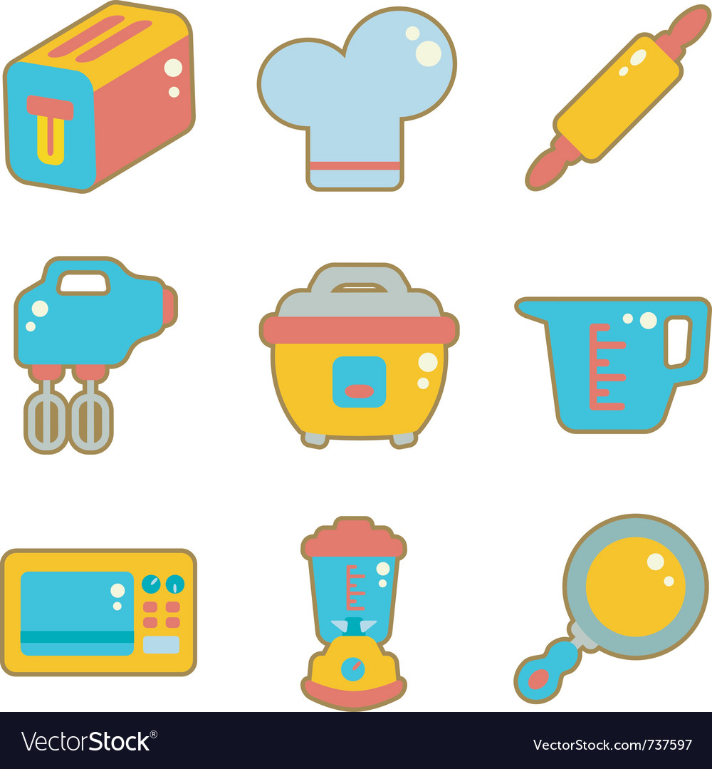 Cute Icon Kitchen Appliances