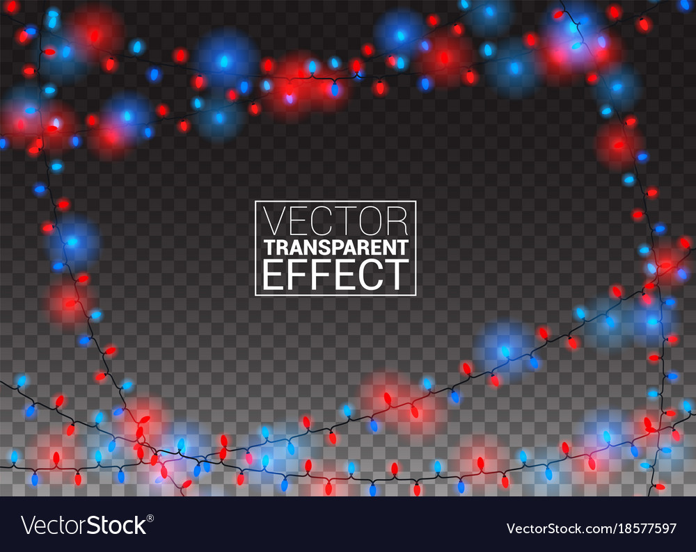Glowing christmas lights isolated on transparent vector image