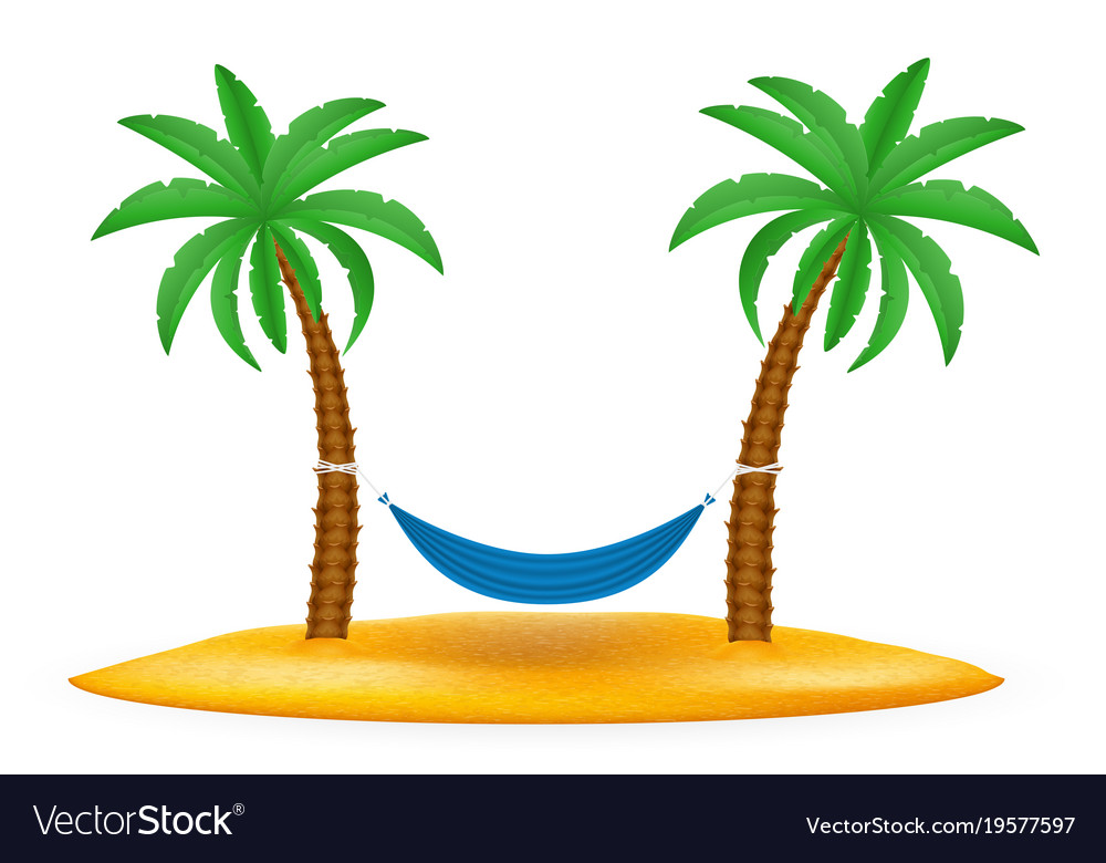 Hammock suspended between palm trees stock vector image