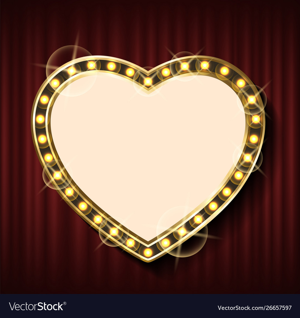 Heart shape frame on background red curtains