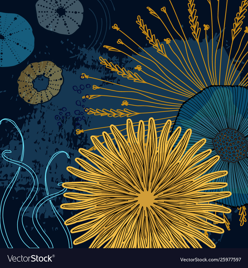 Navy Yellow Floral Cosmic Print Modern Design For Vector Image