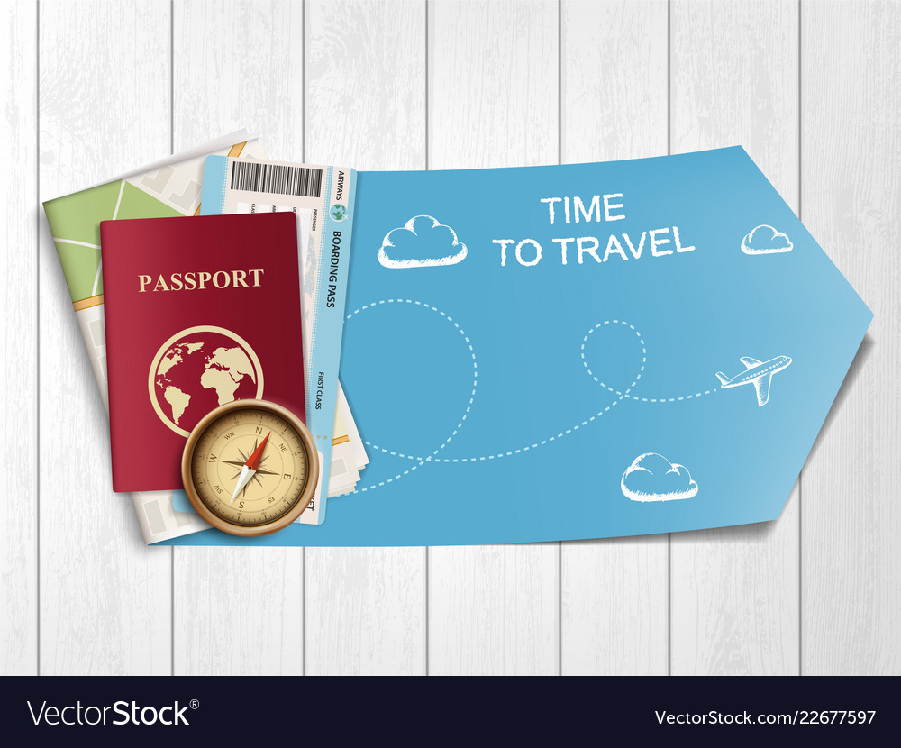 Passport with airline boarding pass ticket and