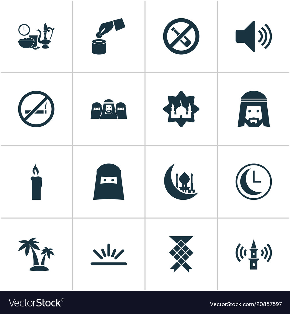Religion icons set with clock muslim adhaan and
