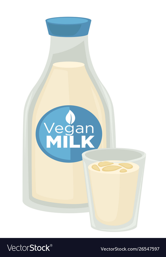 Vegan milk vegetarian dairy product in bottle and