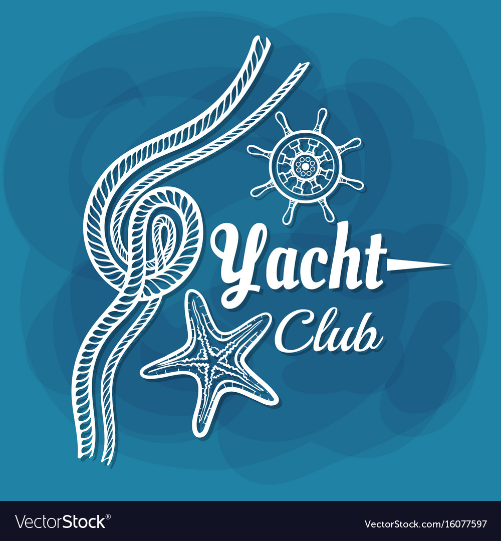 White lettering yacht club rope