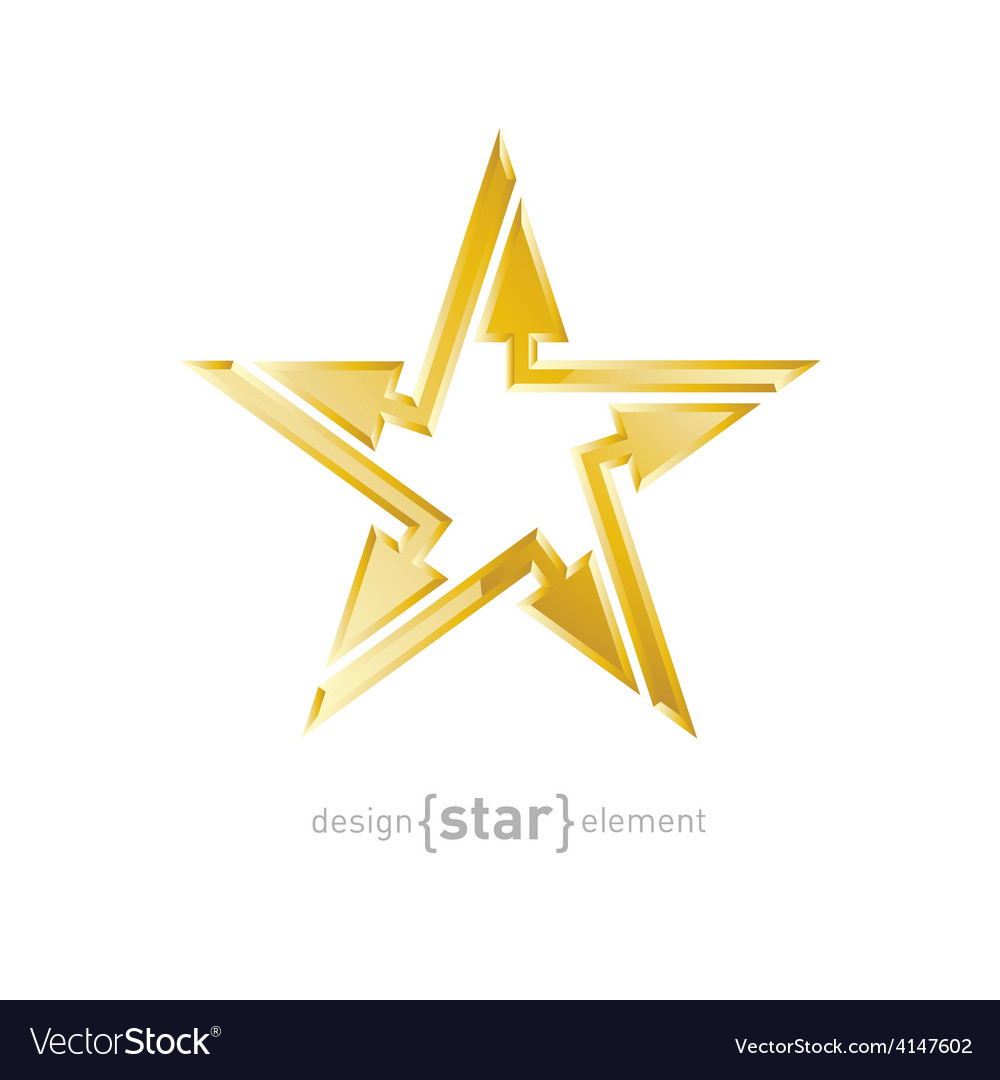 Abstract Golden star with arrows design element on