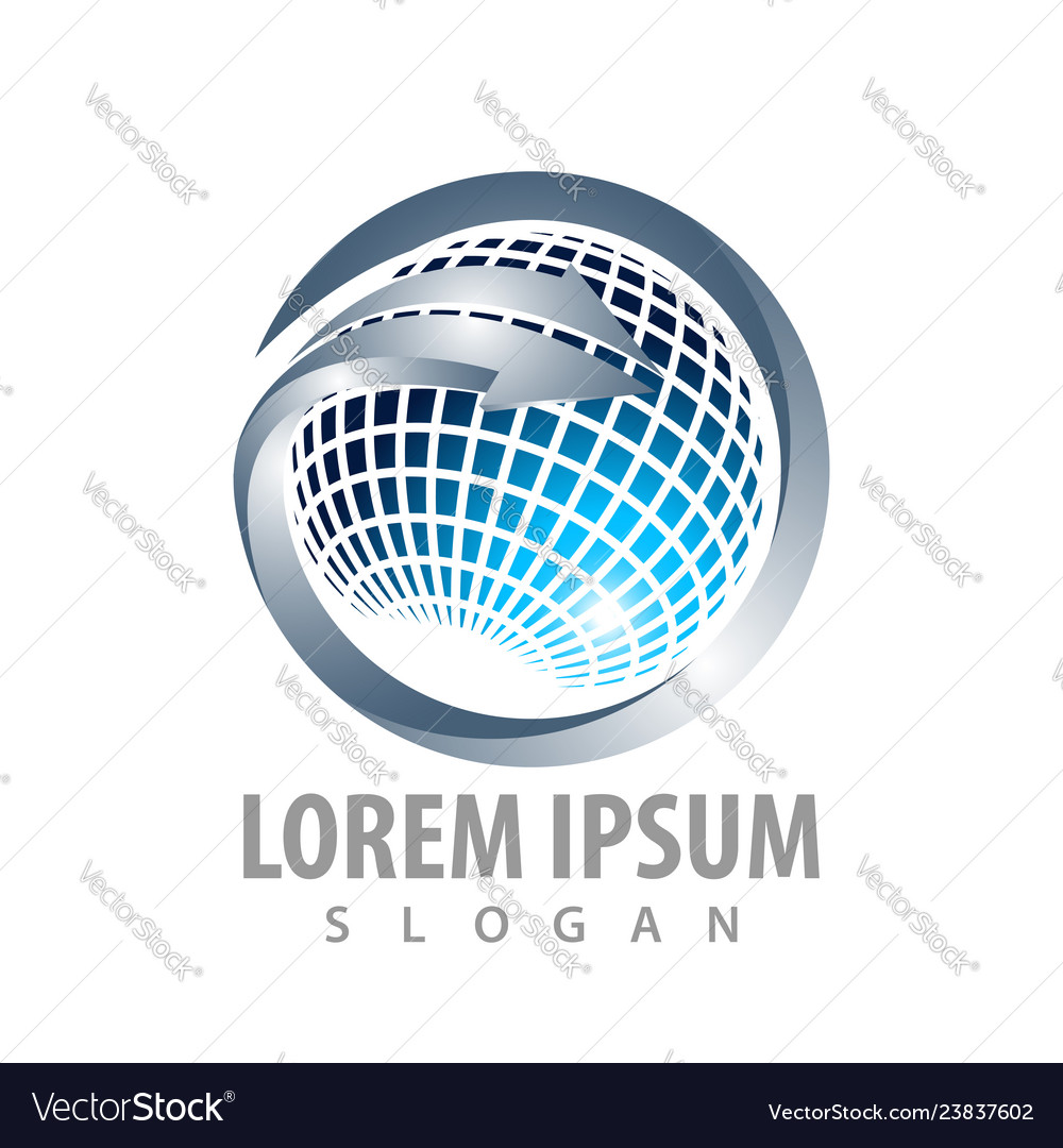 Abstract technology world blue sphere logo