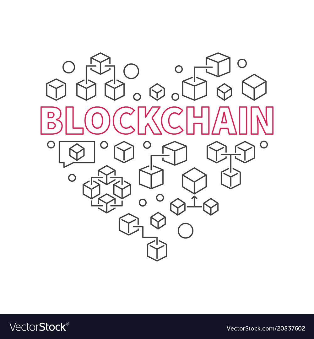 Blockchain technology heart i love block chain