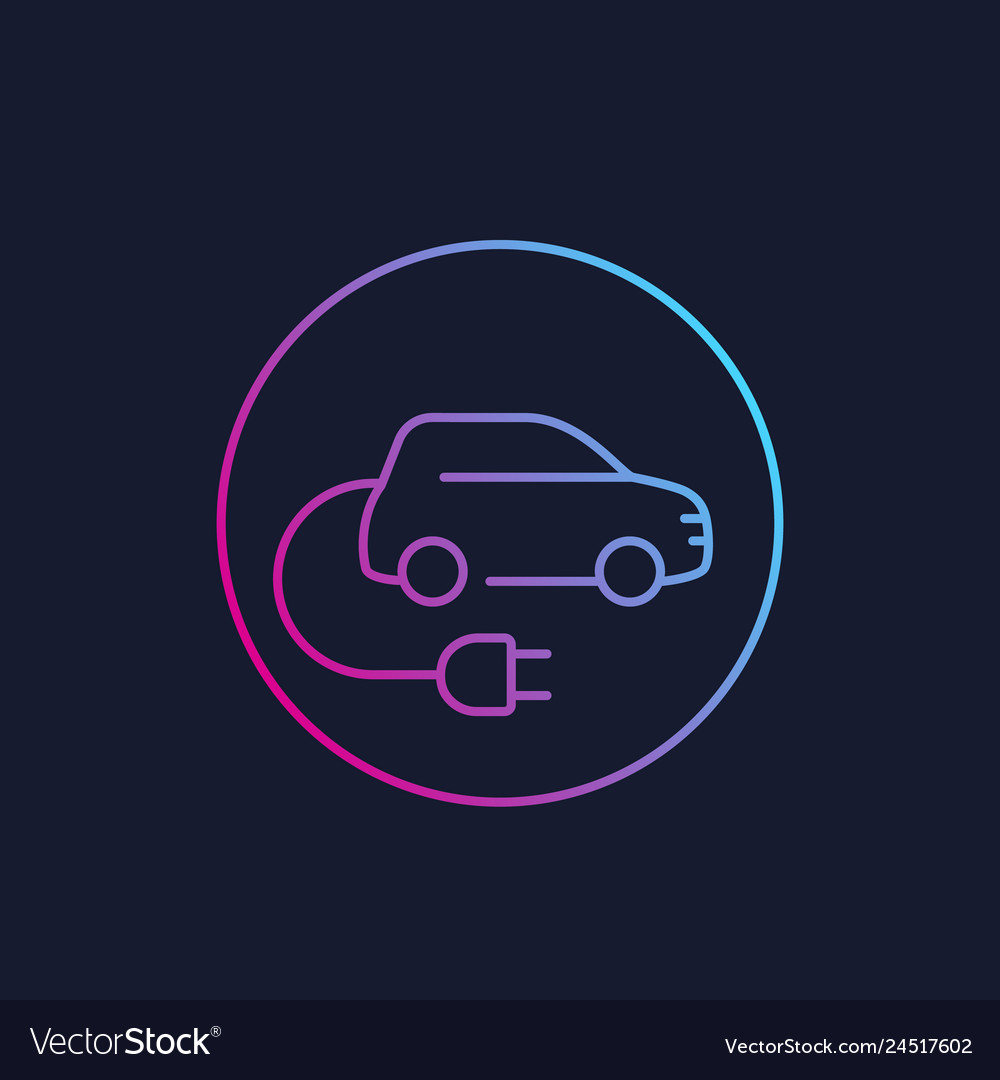 Electric car with plug ev linear style icon Vector Image