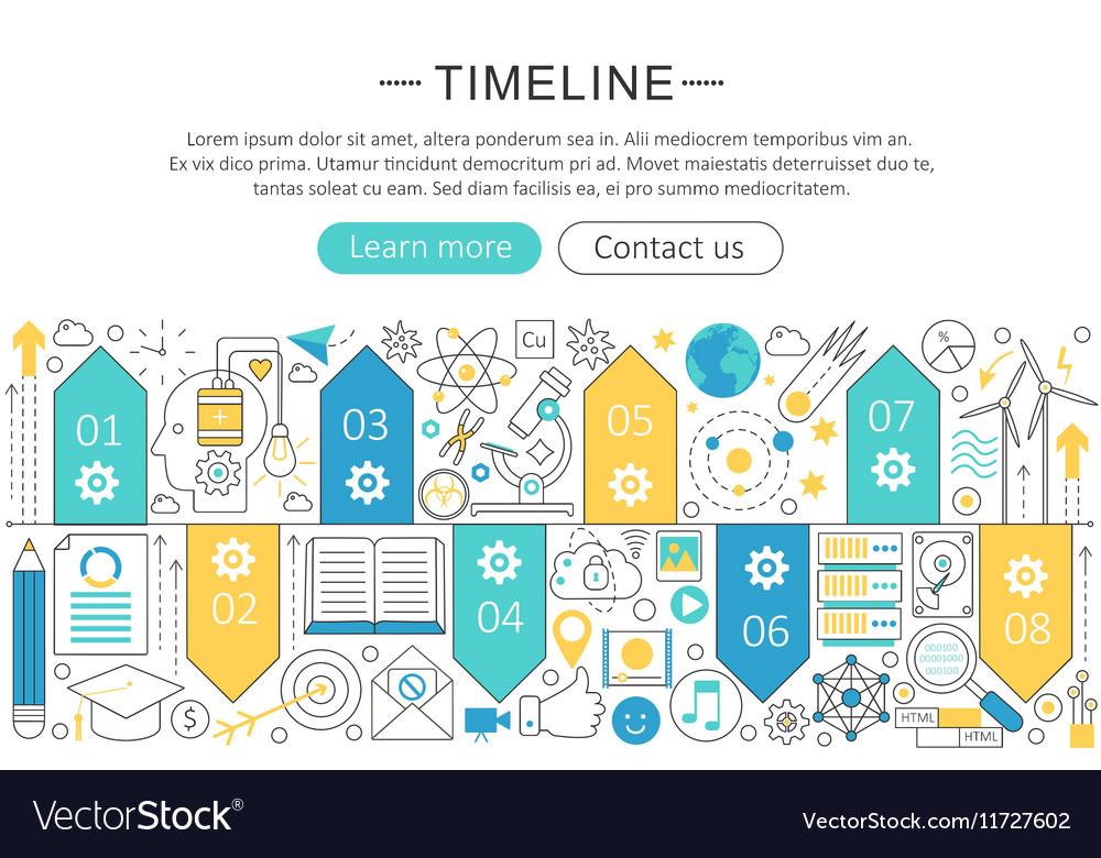 Elegant thin flat line Timeline concept