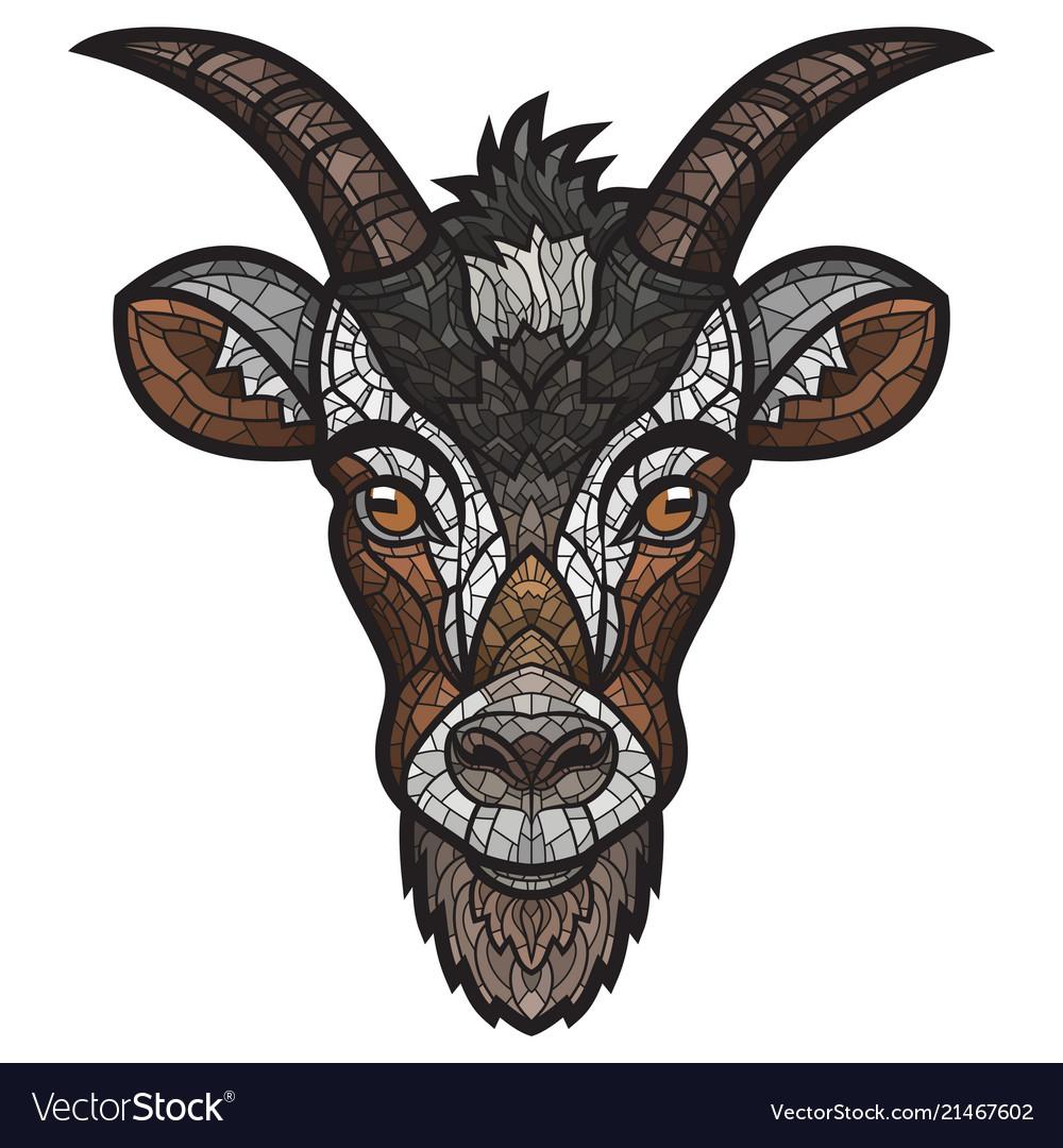 Goat head image on white background