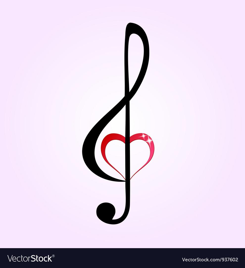 shiny heart treble clef royalty free vector image rh vectorstock com treble clef heart design treble clef heartbeat