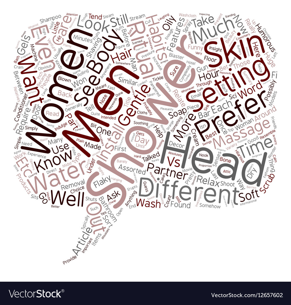 Shower Heads Women vs Men text background vector image