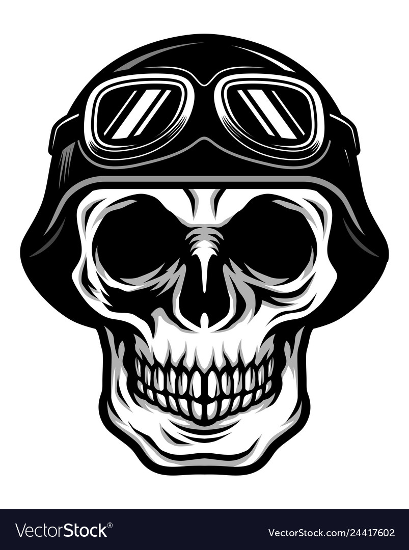 Skull head wearing retro biker helmet