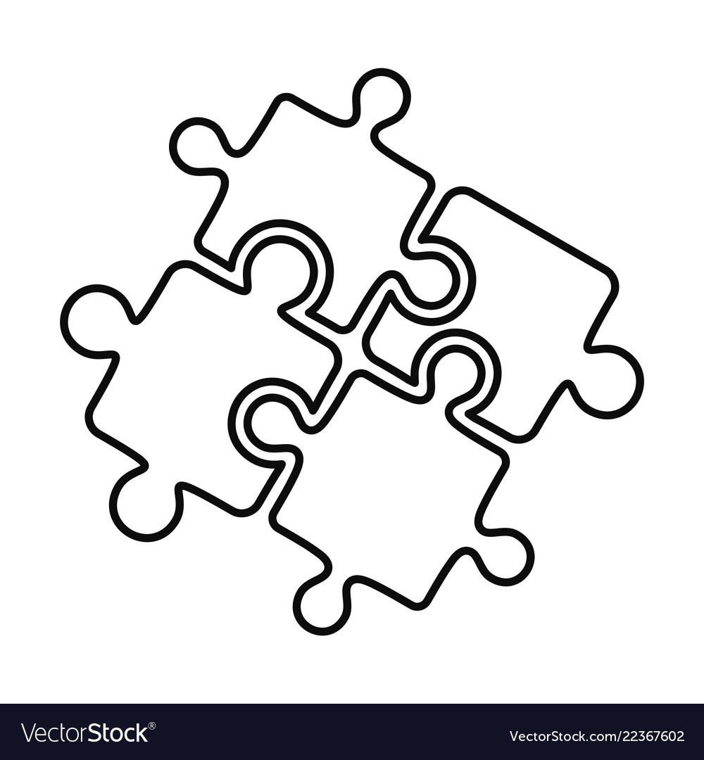 Teamwork solution puzzle icon outline style