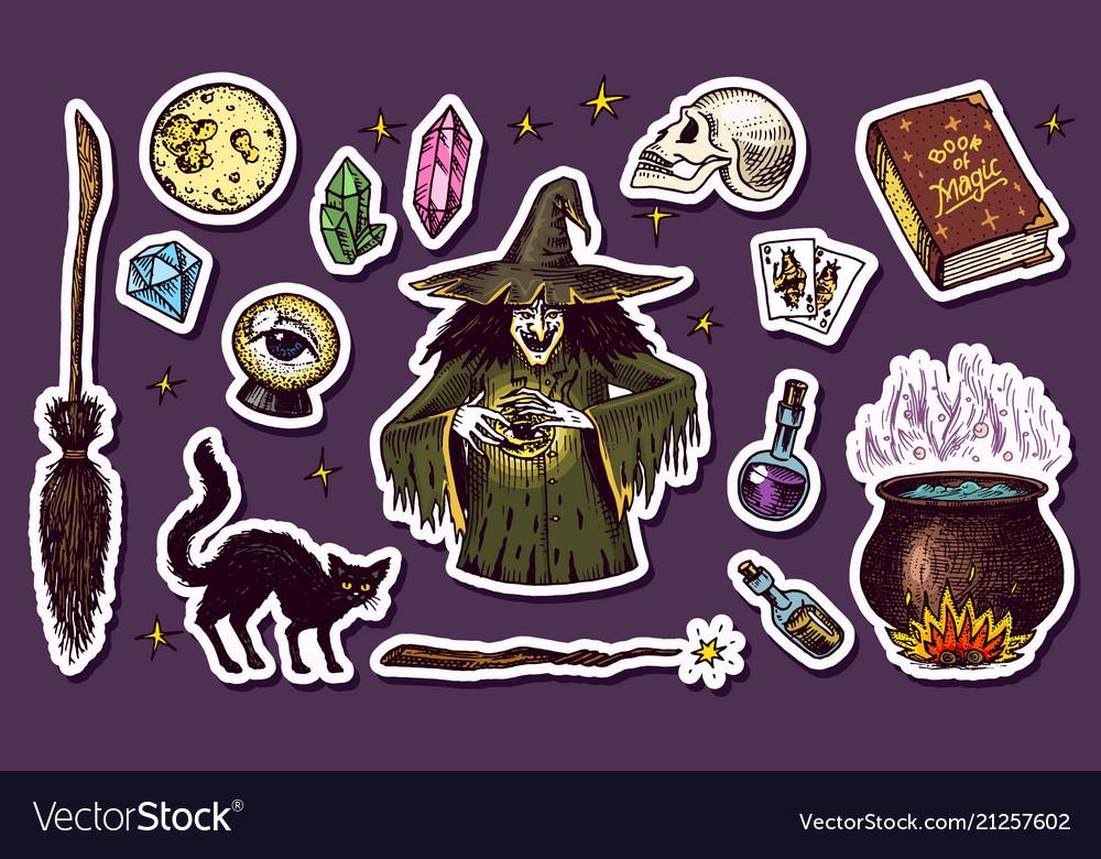 Vintage halloween elements stickers magic ball