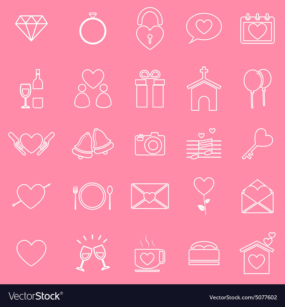 Wedding line icons on pink background Royalty Free Vector