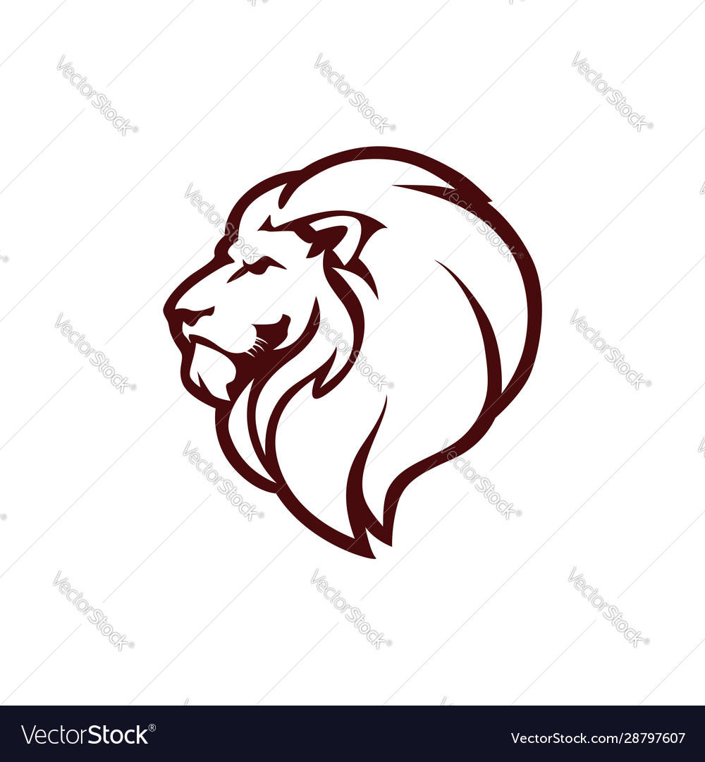 Angry Lion Head Logo Icon Sign Outline Design Vector Image Simple outline lion head drawing seamless vector pattern images. vectorstock