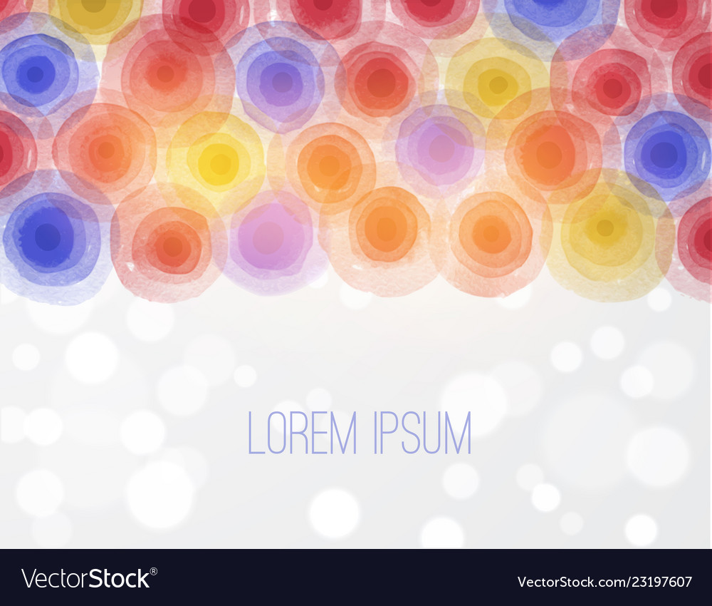 Bright circles on white background with place for