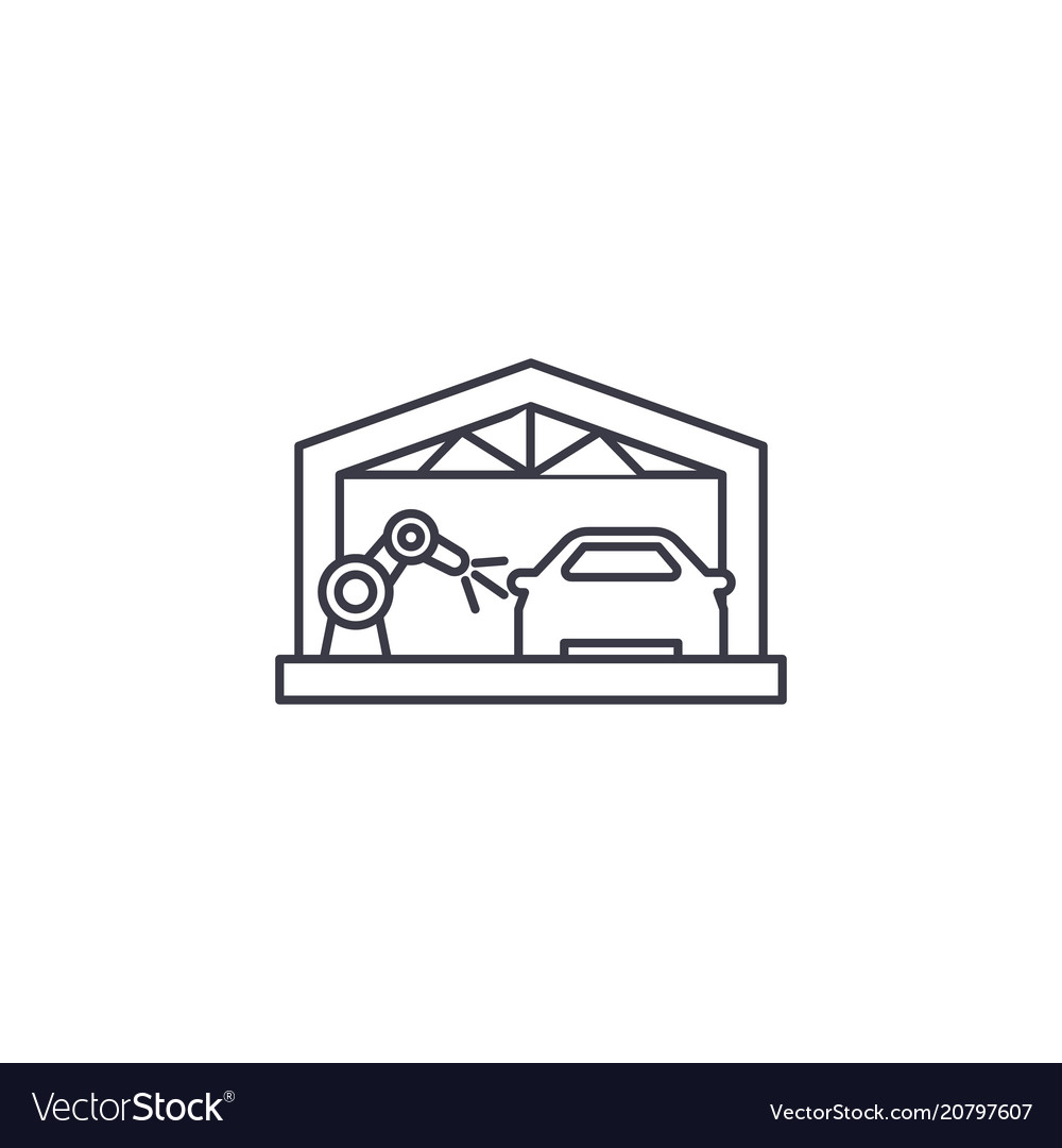 Car assembly line line icon sign