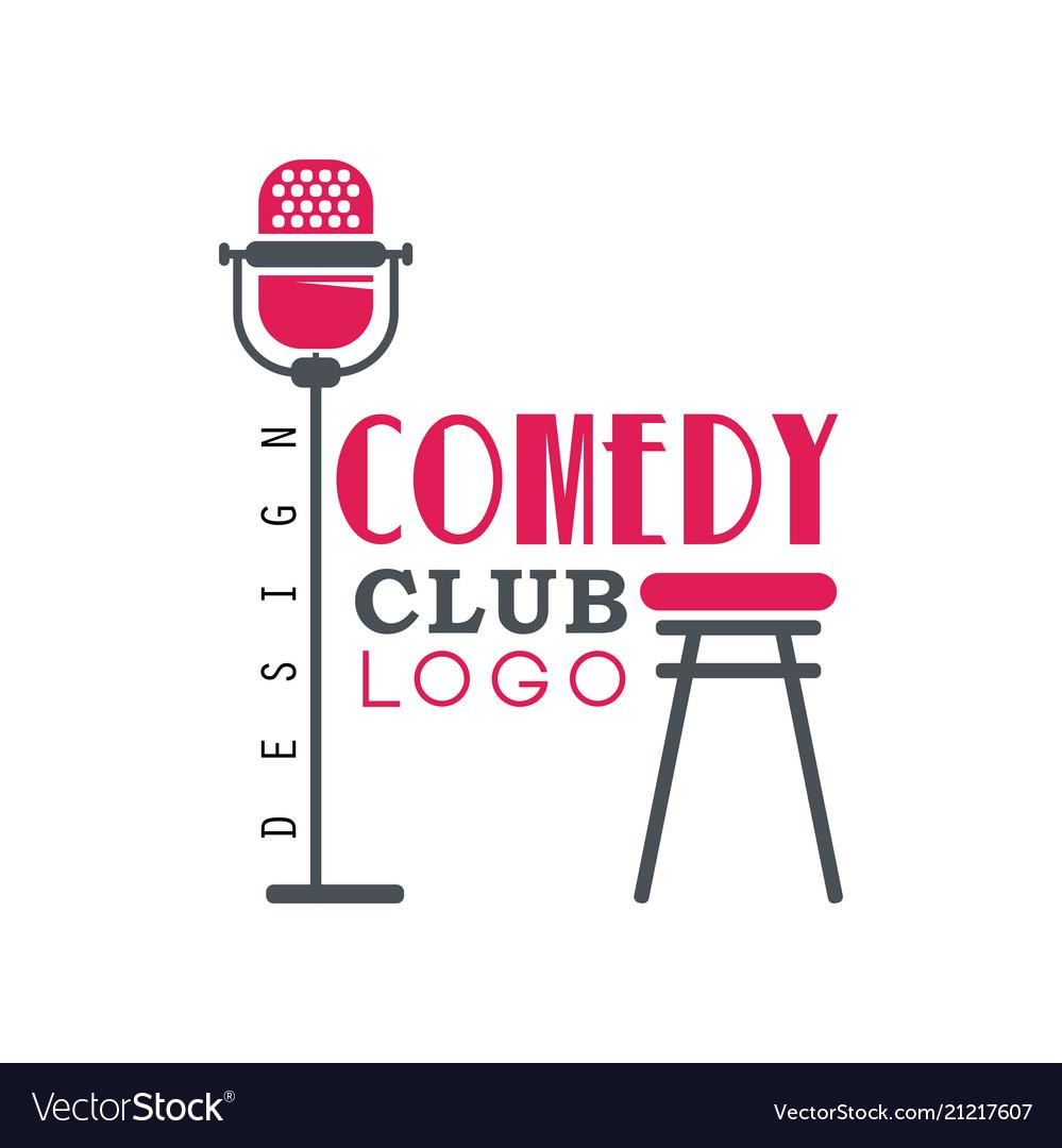 Comedy club logo design with retro microphone
