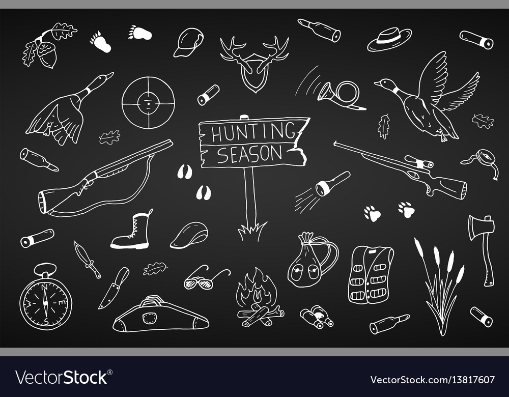 Hunting season collection in doodle stylehand