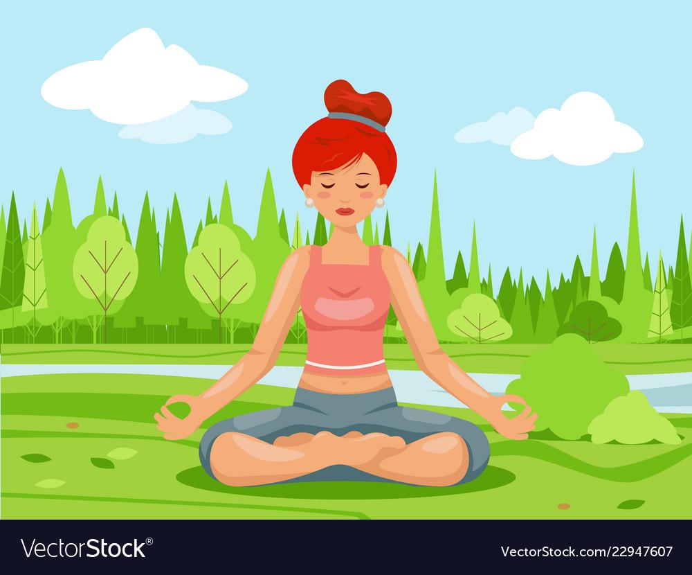 Outdoor park nature meditation cute female girl