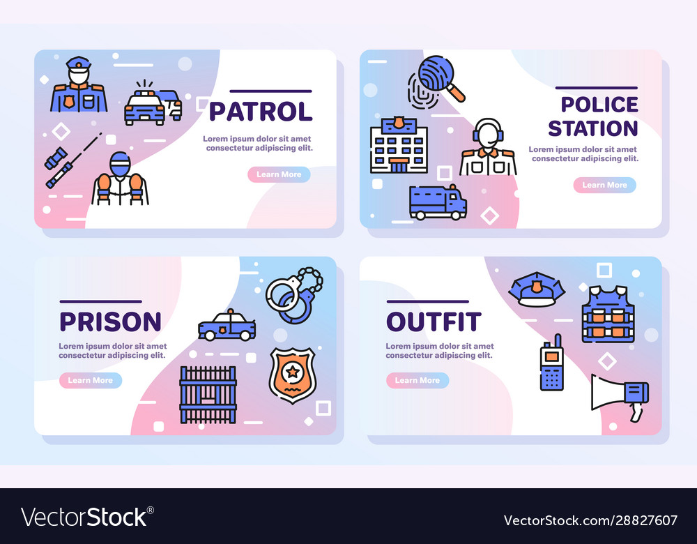 Police color linear icons set