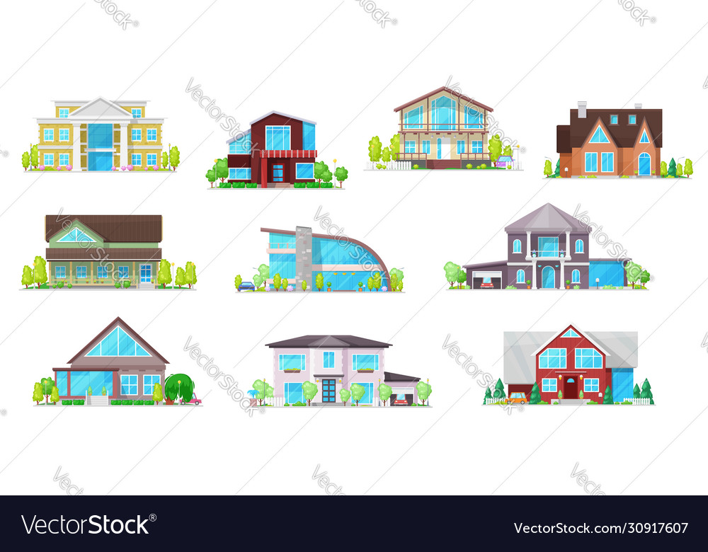 Real estate private buildings icons set