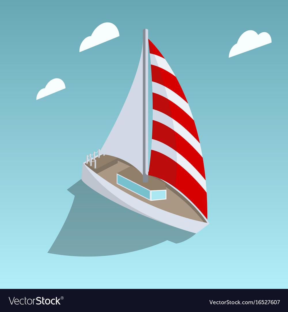 Sailing yacht isometric style